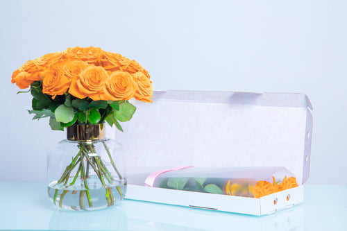 10 Orange Letter Box Roses, Valentine's Day roses, Valentine's day, Long Stem Roses, LetterBox Roses - Crystal Roses London