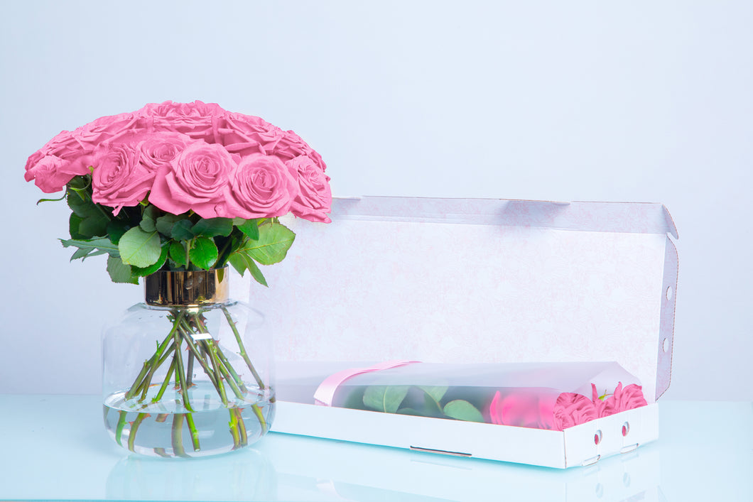 10 Pink Letter Box Roses, Long Stem Roses, LetterBox Roses - Crystal Roses London