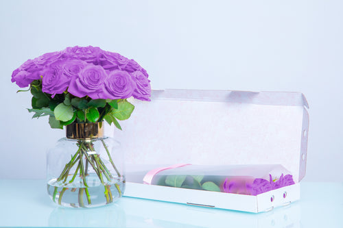 10 Purple Letter Box Roses, Long Stem Roses, Valentine's Day roses, Valentine's day, LetterBox Roses - Crystal Roses London