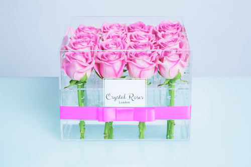 Small Acrylic Box - Fresh Cut Pink Roses - Crystal Roses London