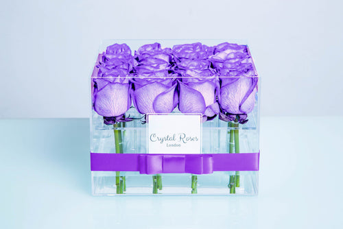 Small Acrylic Box - Fresh Cut Purple Roses - Crystal Roses London
