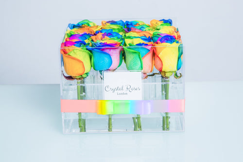Small Acrylic Box - Fresh Cut Rainbow Roses, Roses Delivered, Luxury Roses, Gift Box Roses - Crystal Roses London