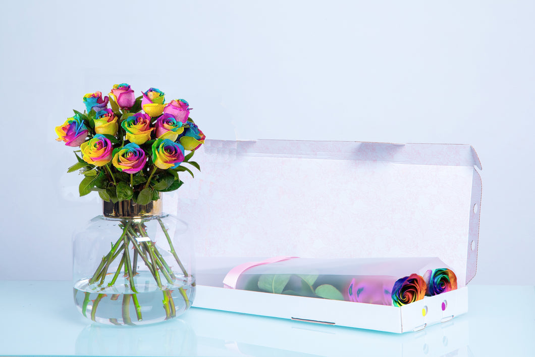 Rainbow Letter Box Roses, Valentine's Day roses, Valentine's day, Long Stem Rainbow Roses - Crystal Roses London