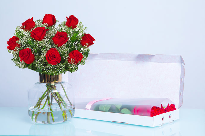 Red Roses & Gypsophila - Letter Box Arrangement