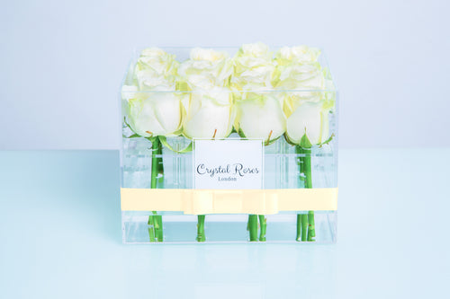 Small Acrylic Box - Fresh Cut White Roses - Crystal Roses London
