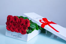 12 Fresh Cut Red Roses, 12 Long Stem Red Roses,  Valentine's Day Roses, Valentine's Day, 12 Red Gift Box Rose - Crystal Roses London