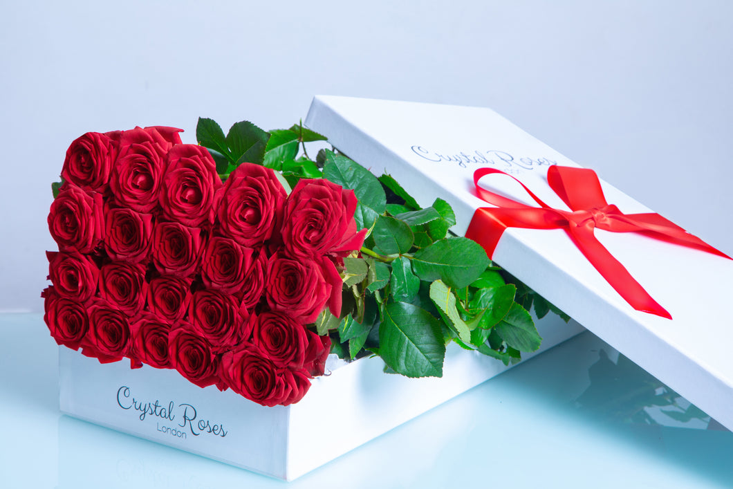Milestone birthday roses, Fresh Cut red Roses, birthday red Gift Box Rose, Gift Box Roses, red Long Stem roses - Crystal Roses London