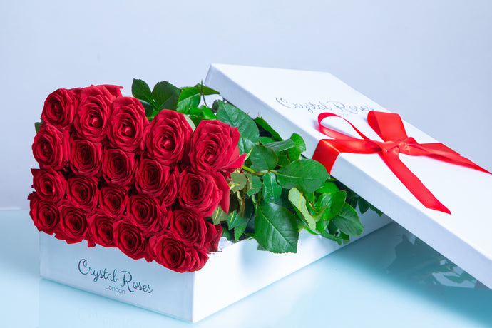 20 Fresh Cut Red Roses, 20 Red Gift Box Rose, Gift Box Roses, 20 Red Long Stem roses - Crystal Roses London
