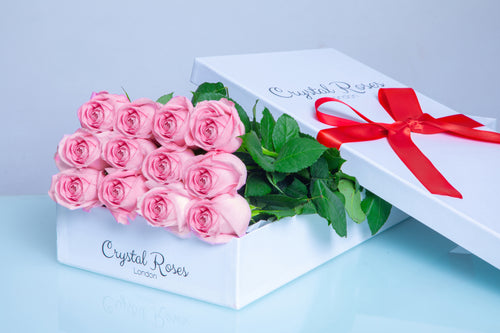 12 Fresh Cut, Long Stem Pink Roses in a white signature gift box, 12 Long Stem Pink Roses, Gift Box Roses, 12 Pink Gift Box Roses - Crystal Roses London