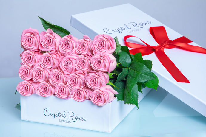 Milestone birthday roses,  Valentine's Day Roses, Valentine's Day, Fresh Cut Pink Roses, birthday Pink Gift Box Rose, Gift Box Roses, Pink Long Stem roses - Crystal Roses London