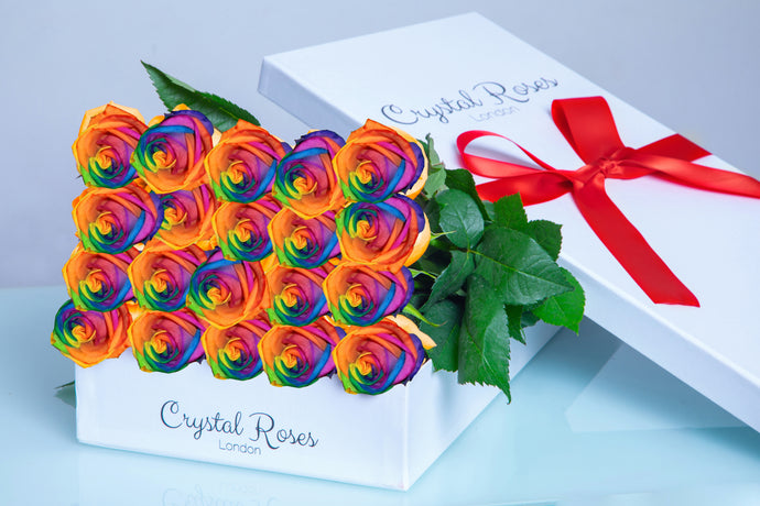 Milestone birthday roses, Fresh Cut rainbow Roses, birthday rainbow Gift Box Rose, Gift Box Roses, rainbow Long Stem roses - Crystal Roses London