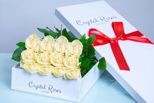 12 Fresh Cut White Roses, 12 Fresh Cut White Roses, 12 White Gift Box Rose, 12 White Long Stem Roses - Crystal Roses London