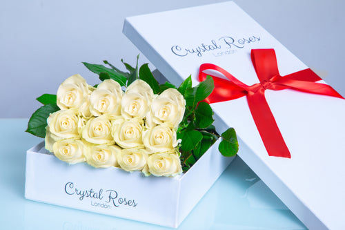 12 Fresh Cut White Roses - Crystal Roses London