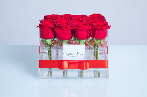 Small Acrylic Box - Fresh Cut Red Roses - Crystal Roses London