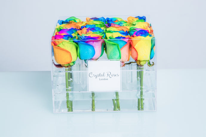 Small Acrylic Box - Fresh Cut Rainbow Roses