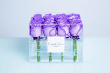 Small Acrylic Box - Fresh Cut Purple Roses, Roses Delivered, Luxury Roses, Gift Box Roses - Crystal Roses London