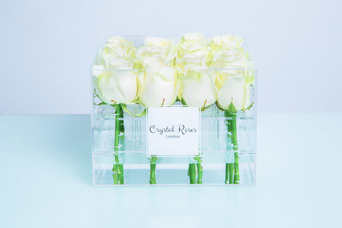 Small Acrylic Box - Fresh Cut White Roses