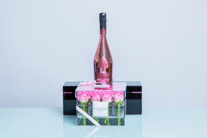 16 Roses - Ace of Spades Armand de Brignac Brut Rosé  Valentine's Day roses, Valentine's day,  - Crystal Roses London