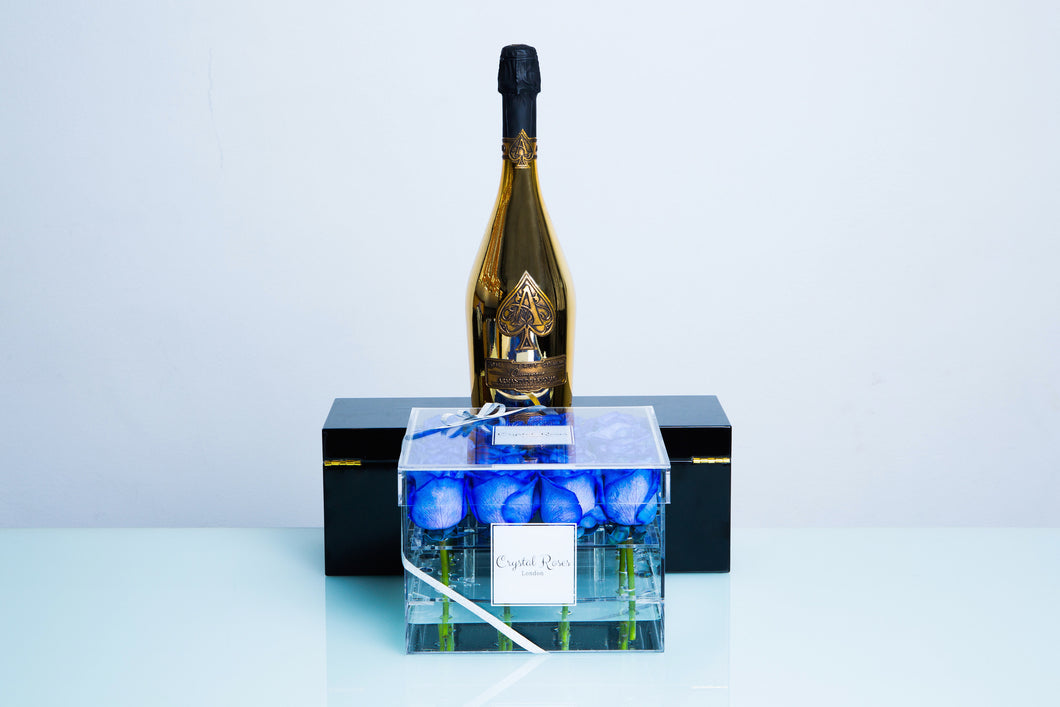 16 Roses - Ace of Spades Armand de Brignac Brut Gold - Crystal Roses London