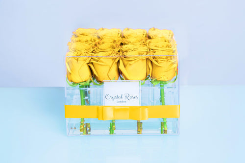Small Acrylic Box - Fresh Cut Yellow Roses, Roses Delivered, Luxury Roses, Gift Box Roses - Crystal Roses London