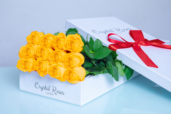 12 Fresh Cut Yellow Roses, 12 Fresh Cut Yellow Roses, 12 Yellow Gift Box Rose, 12 Yellow Roses - Crystal Roses London