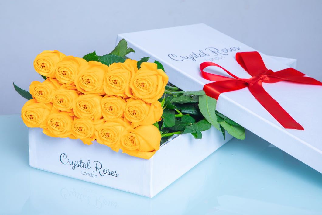 15 Fresh Cut Yellow Roses, 15 Yellow Gift Box Rose, Gift Box Roses, 15 Yellow Long Stem Roses - Crystal Roses London