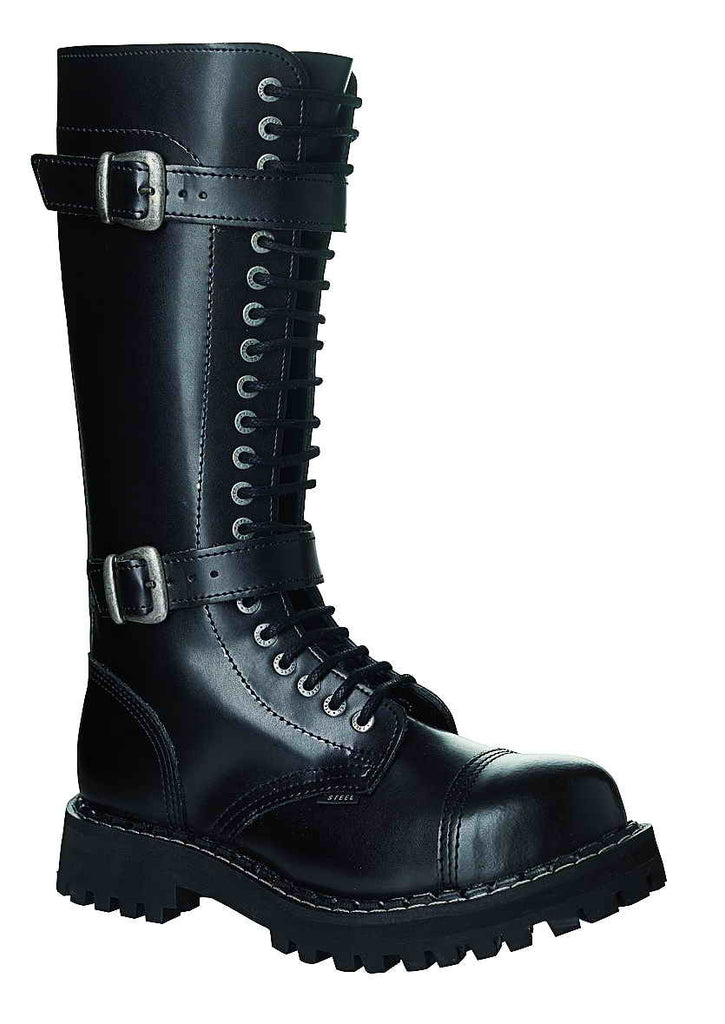 BLACK - 2 BUCKLE SPECIAL 20-eyelet Boots Steel Toe