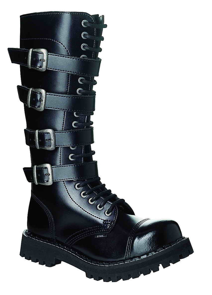BLACK - 4 BUCKLE SPECIAL 20-eyelet Boots Steel Toe