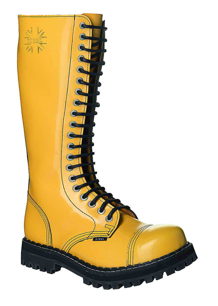 YELLOW 20-eyelet Boots Steel Toe