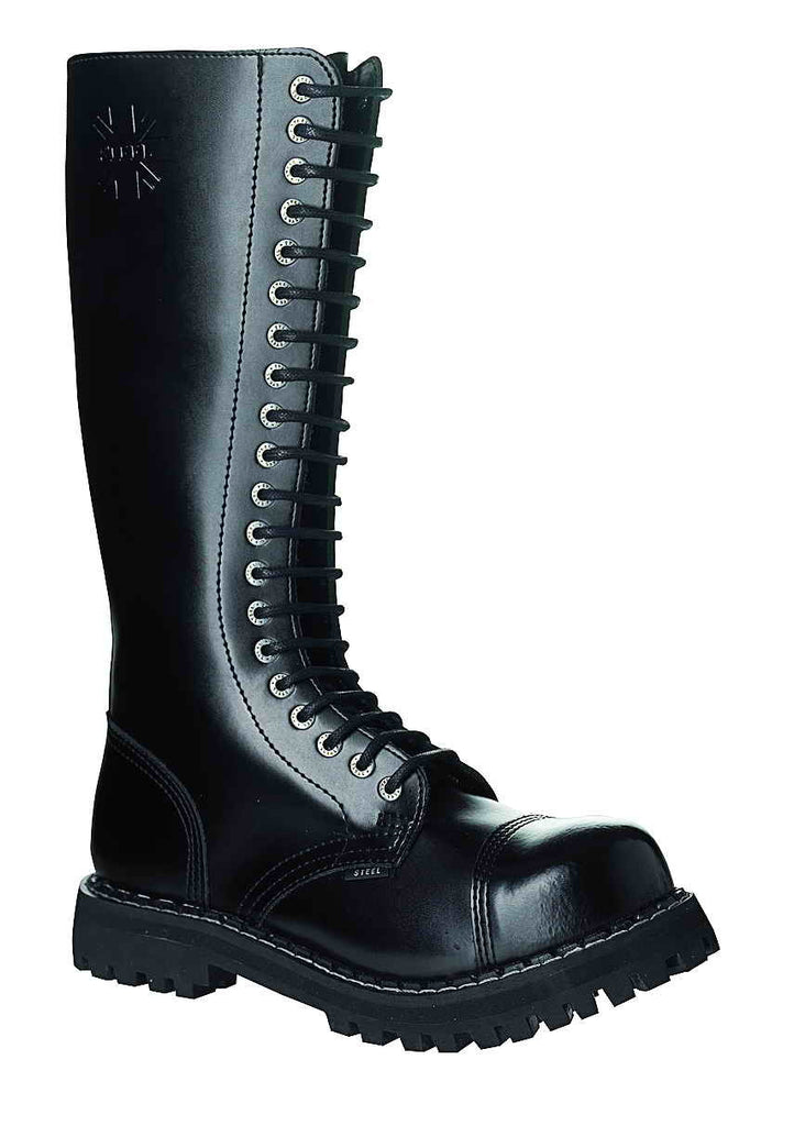 "BLACK ""THE CLASSIC"" 20-eyelet Boots Steel Toe"