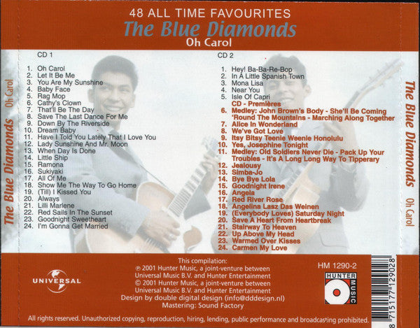 BLUE DIAMONDS (THE) - OH CAROL 48 ALL TIME FAVOURITES  2CD Fantastic Collectors RARE !! CD