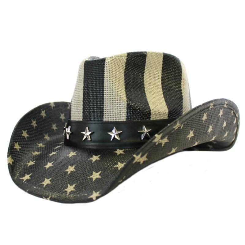 Classic COWBOY HAT - USA FLAG -  Black and White Edition!