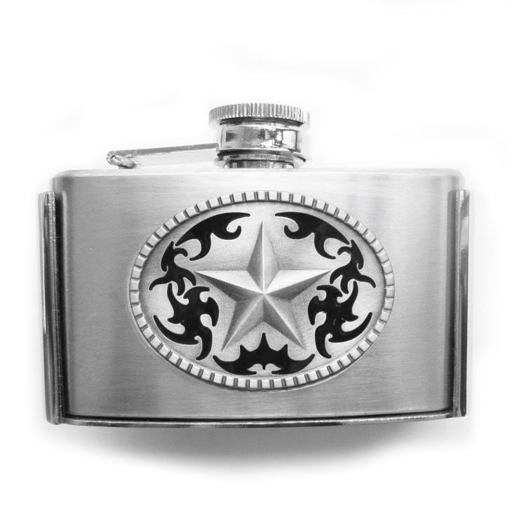 FLASK TEXAS LONE STAR Bottle HOLDER Belt BUCKLE