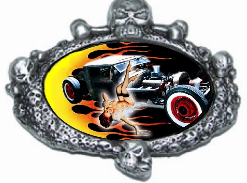 HOT ROD SKULL Pin Up GIRL ROCKABILLY Belt BUCKLE SPECIAL & Rare!
