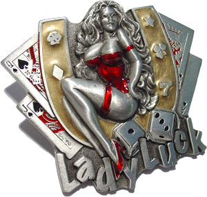 LADY LUCK Rockabilly Pin Up Belt BUCKLE