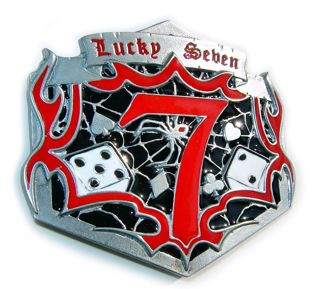 LUCKY 7 Rockabilly DICES Large Belt BUCKLE