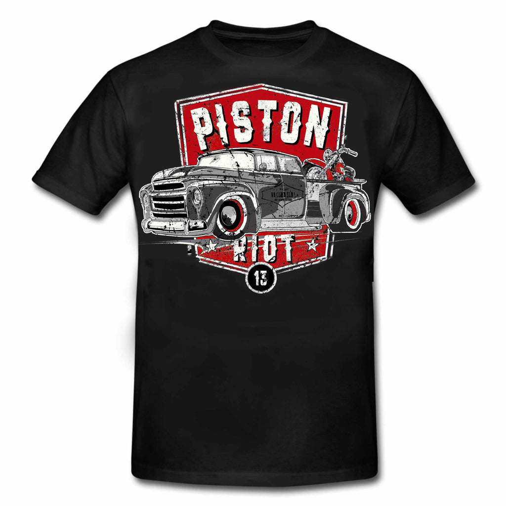 PISTON RIOT XIII - Hot Rod PICK UP & Bike Limited Edition T-Shirt Black