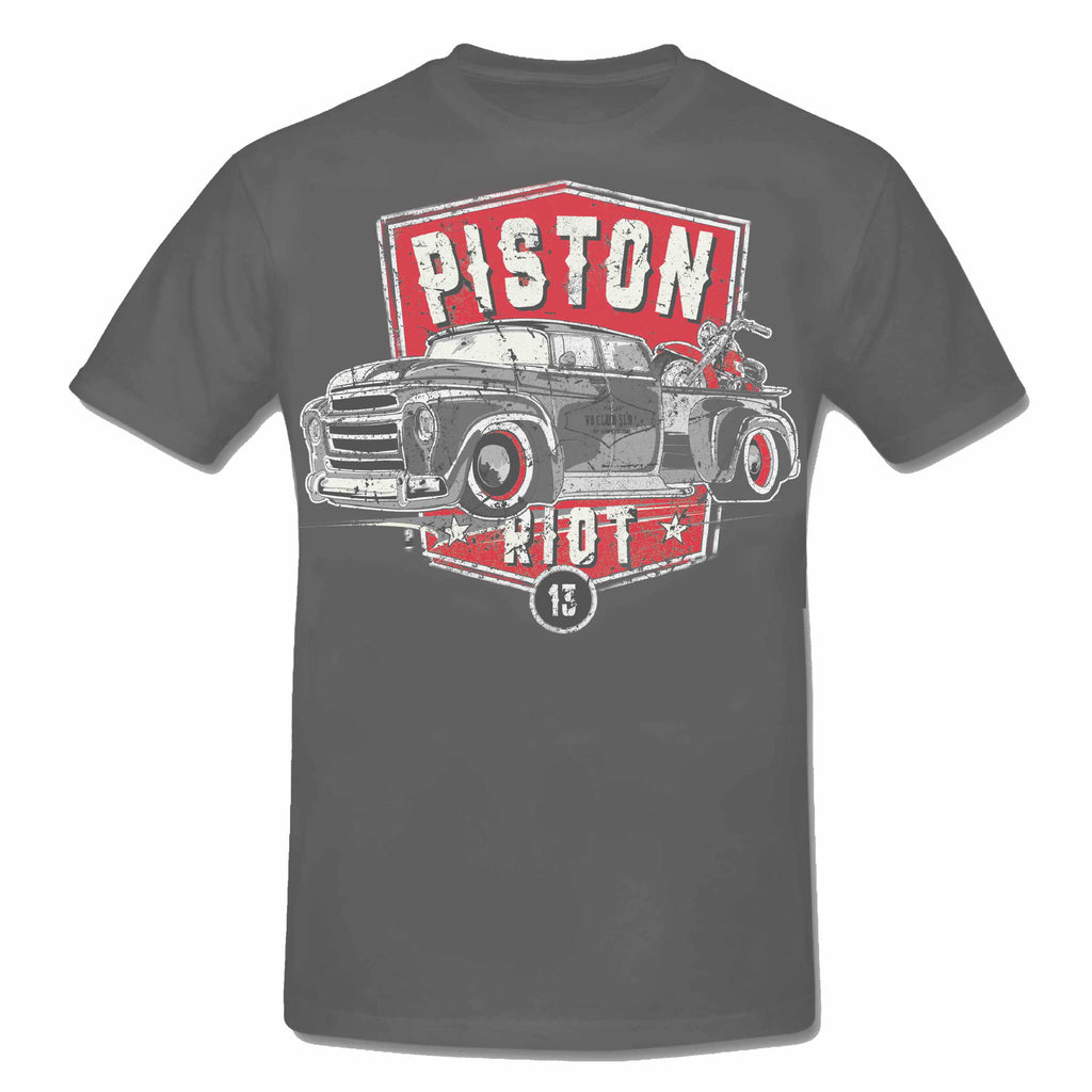 PISTON RIOT XIII - Hot Rod PICK UP & Bike Limited Edition T-Shirt Grey