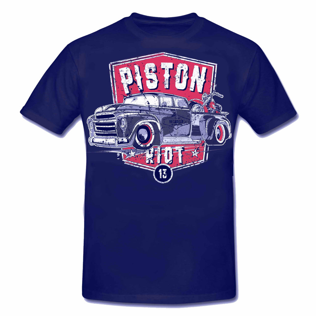 PISTON RIOT XIII - Hot Rod PICK UP & Bike Limited Edition T-Shirt Dark Blue