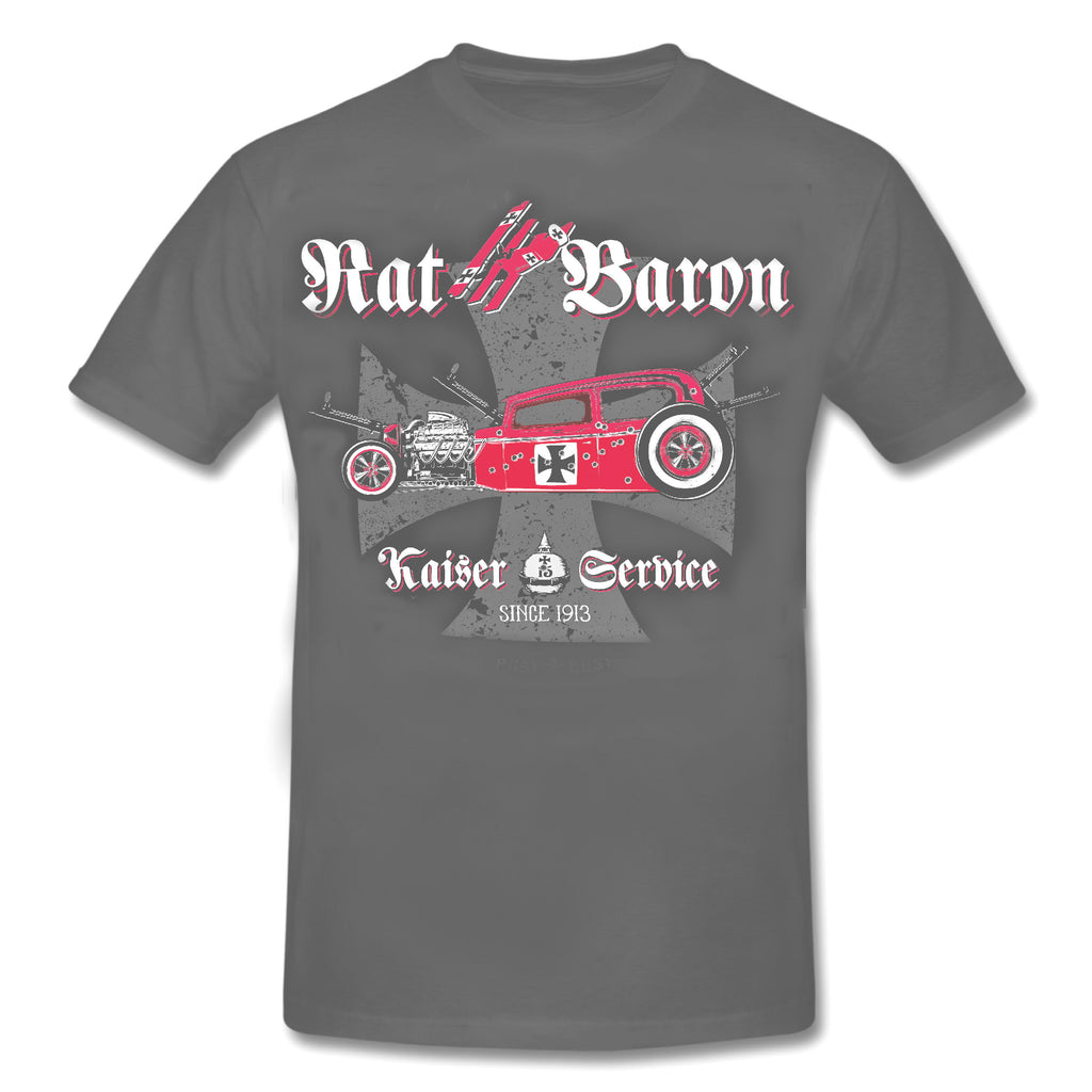 RAT BARON - Kasier Service - HOT ROD ROCKABILLY T-Shirt GREY