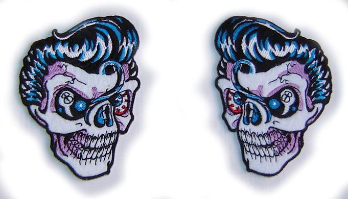ROCKABILLY SKULL - GREASER ROCK'N'ROLL - 7 X 10 cm PATCH!