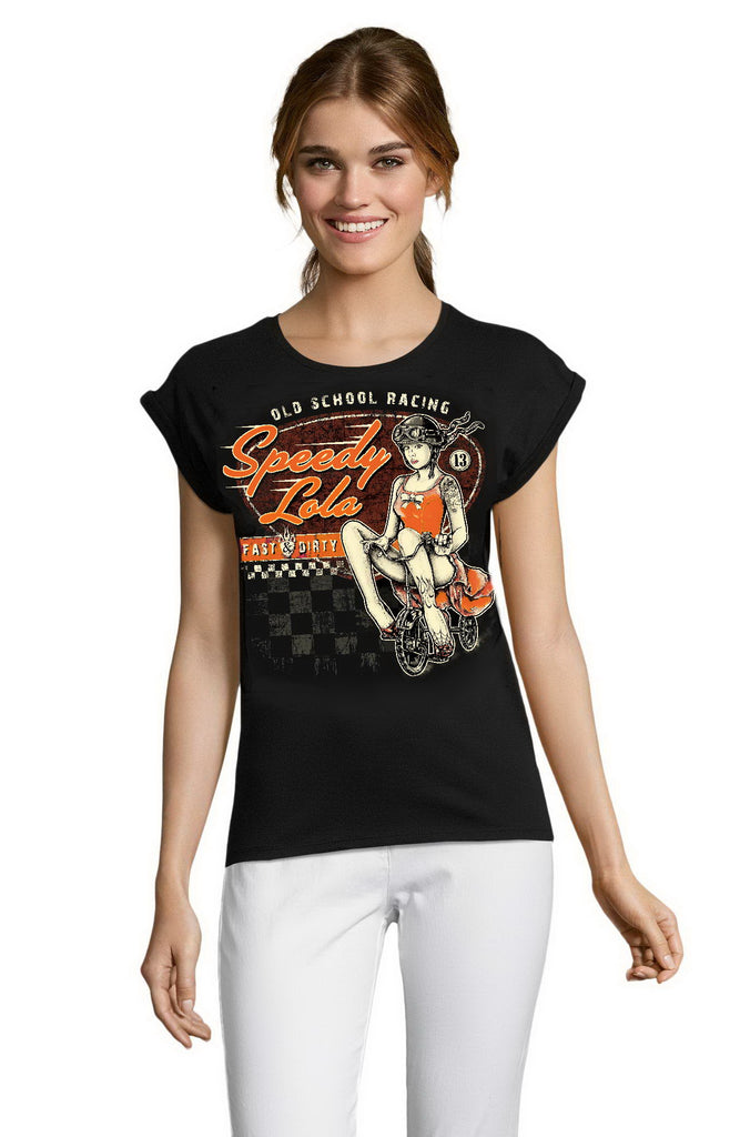 SPEEDY LOLA - Old school Racing PIN UP Rockabilly LADIES T-Shirt 80s STYLE