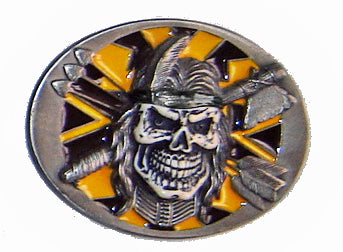 "INDIAN SKULL & BONES ""Tomahawk & Arrows"" Super 3D Belt BUCKLE Official and  RARE"