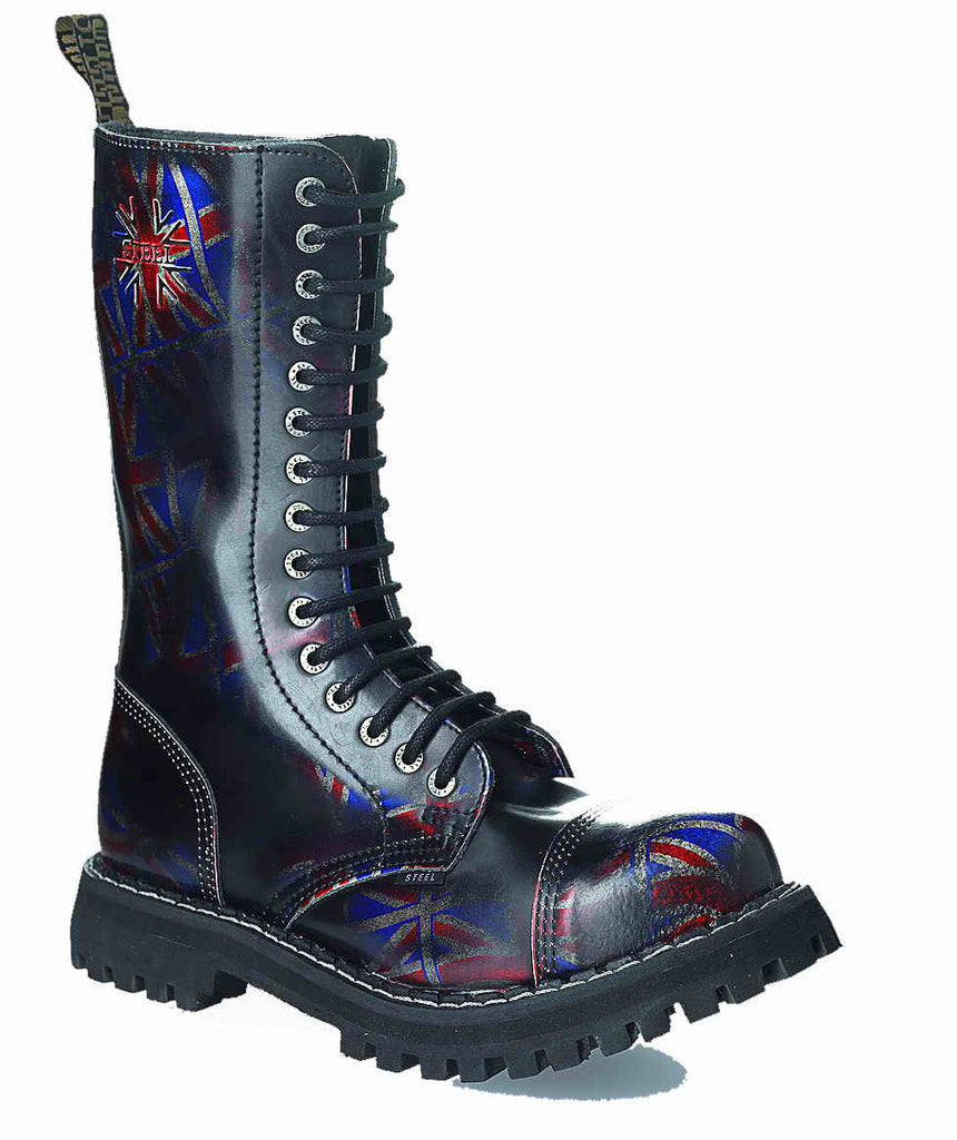 BRITISH FLAG - UK URBAN 15-eyelet Boots Steel Toe