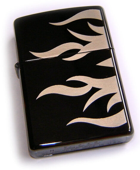 Zippo EBONY HOT ROD FLAMES on Black Ice
