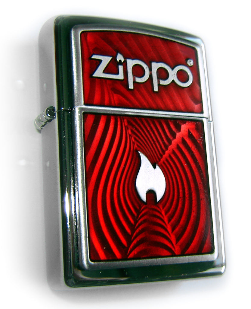 Zippo RED WALL ILLUSION FLAME LOGO Massive Plate SPECIAL