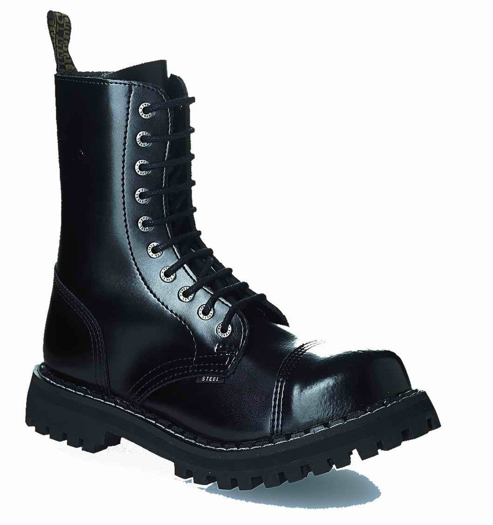 "BLACK ""THE CLASSIC"" 10-eyelet Boots Steel Toe"