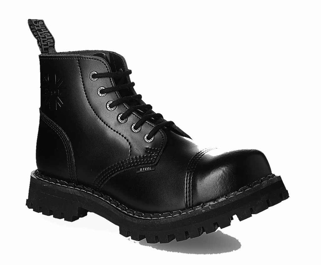"BLACK ""THE CLASSIC"" 6-eyelet Shoes Steel Toe"