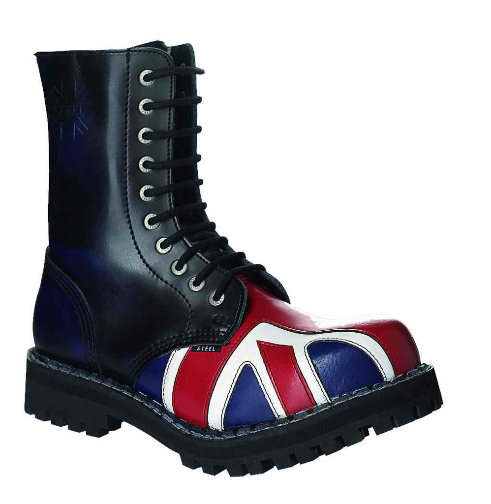 "BRITISH FLAG ""BREXIT SPECIAL"" 10-eyelet Boots Steel Toe"