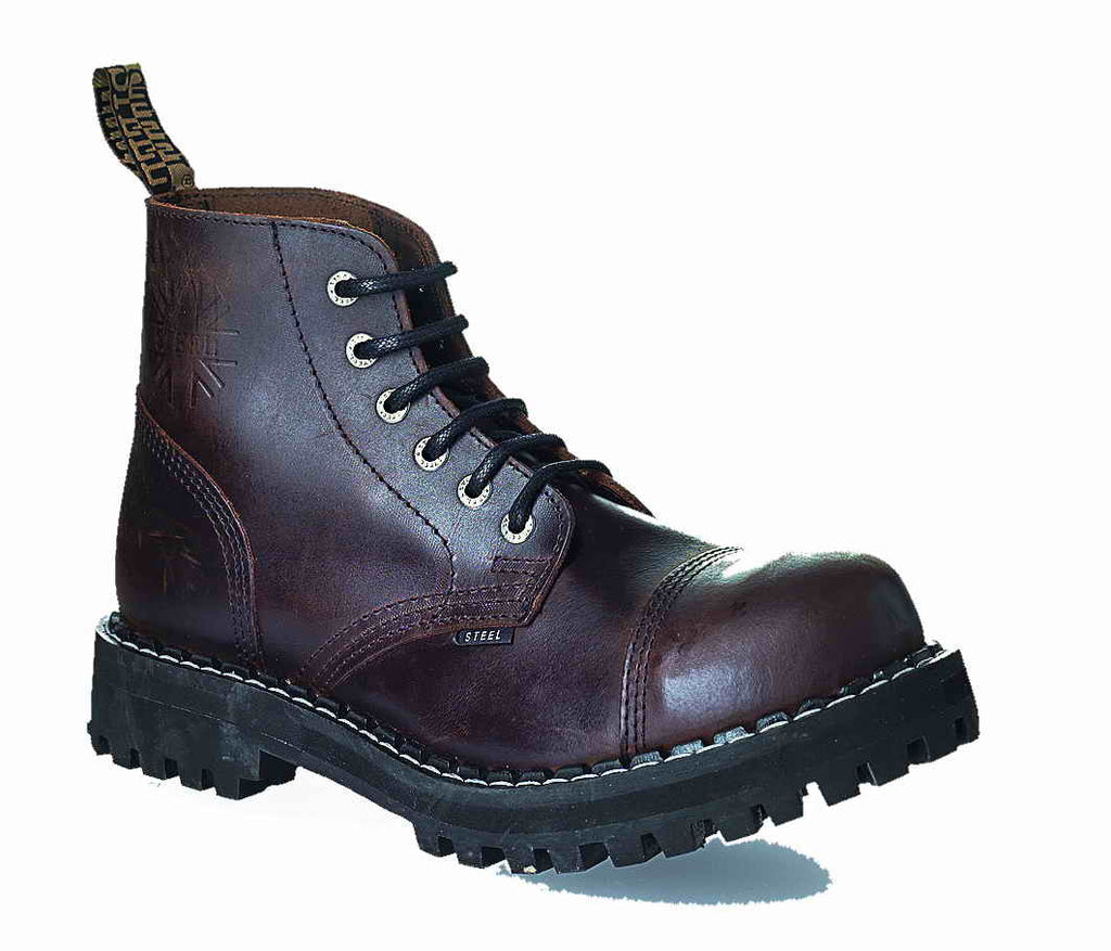 BROWN 6-eyelet Shoes Steel Toe